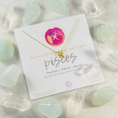 pisces charm necklace with crystal from sarah belle