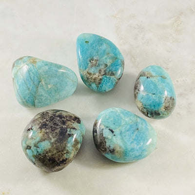Amazonite palm stone for relaxation