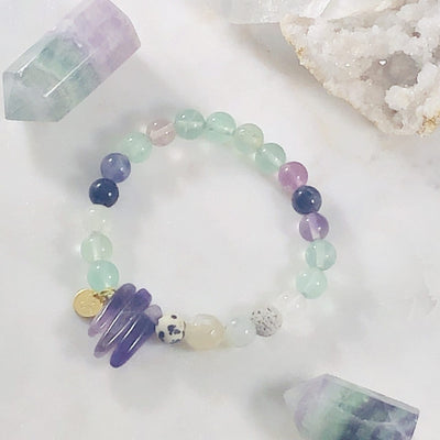 Inner Knowing Stacking Bracelet (Diffuser) with Healing Crystals for Clarity and Focus