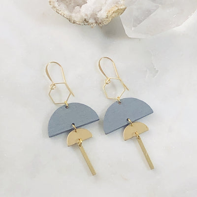 Handmade modern statement earrings with geometric shapes
