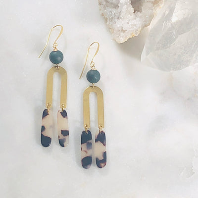 Handmade geometric statement earrings with tortoise lucite