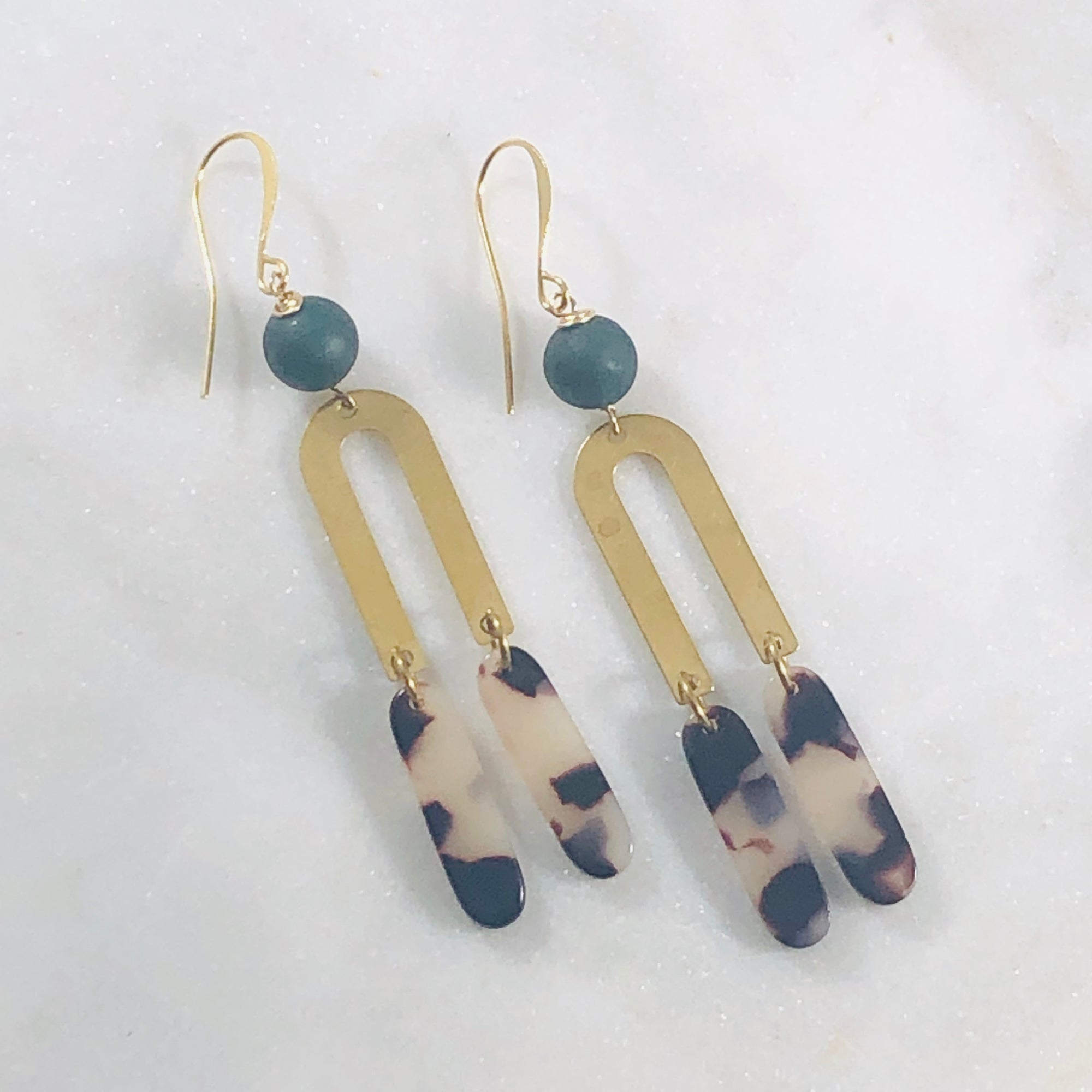 Handmade, geometric, modern earrings with brass, agate and tortoise lucite