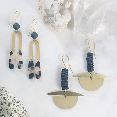 Handmade, geometric, modern statement earrings in brass and gold plated metals
