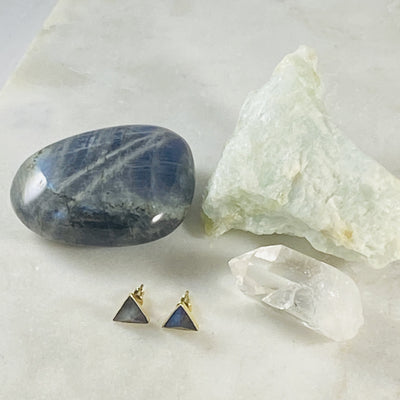 labradorite stud earrings by sarah belle for protecting the aura
