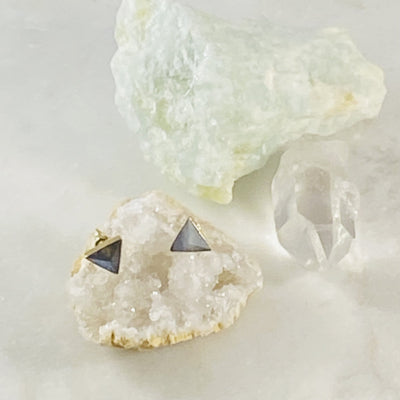 labradorite triangle stud earrings