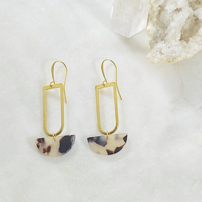 Handmade tortoise and brass statement earrings by Sarah Belle