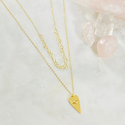 Handmade layered heart necklaces