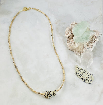 Handmade Mali necklace with healing crystal energy of dalmatian jasper
