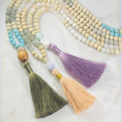 Handmade malas with healing crystals for meditation and yoga