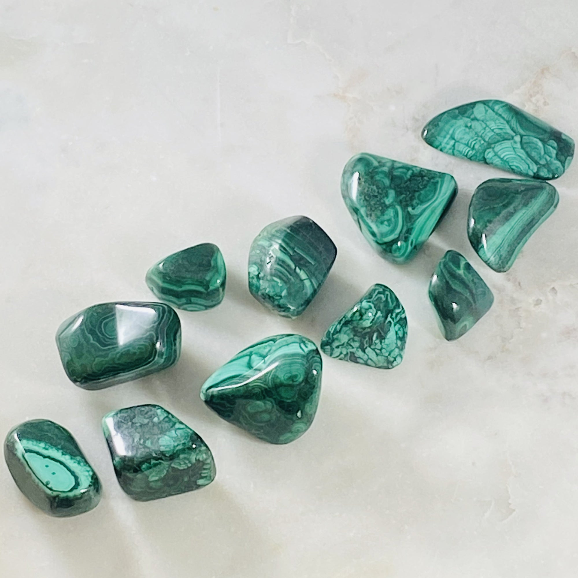 Tumbled malachite healing gemstones