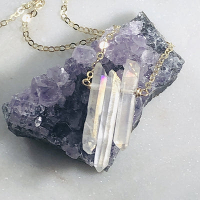 Quartz crystal necklace that is high vibe, unique and stylish