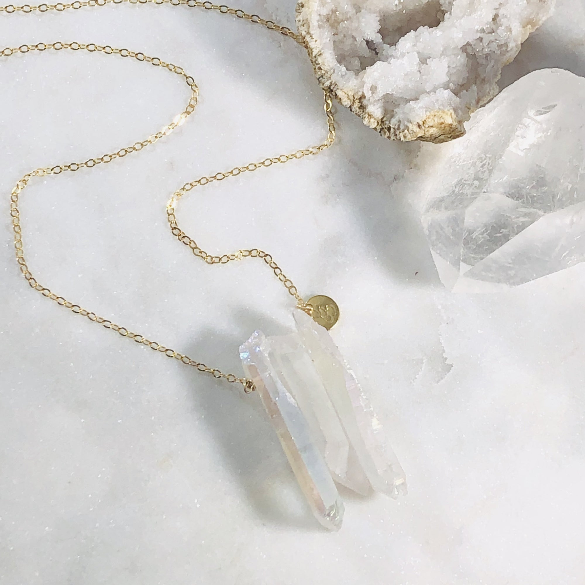 Miri Quartz Crystal Necklace White
