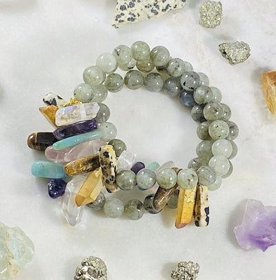 Modern chakra bracelet for supporting the energy centers with healing crystals