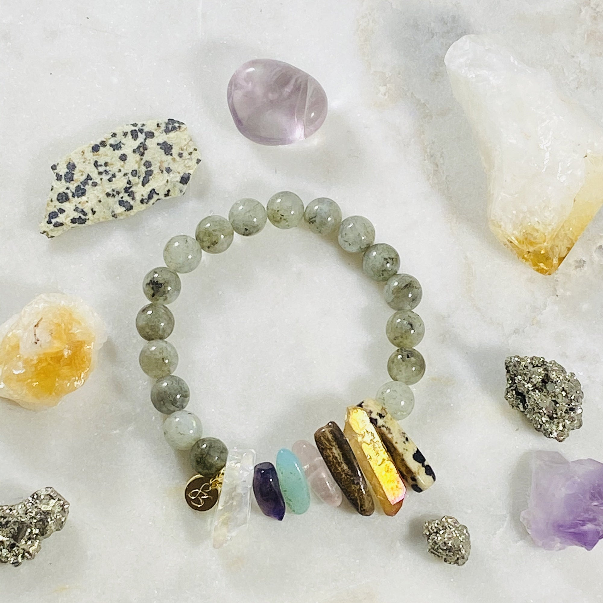 Modern chakra bracelet for supporting the energy centers with crystal healing