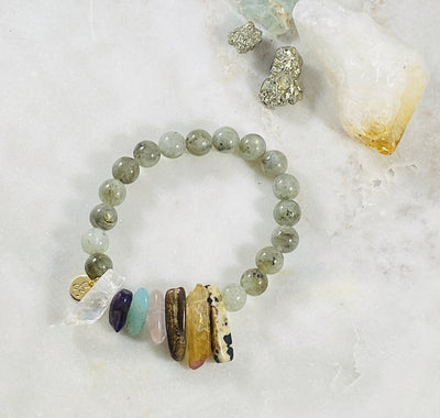 Healing crystal jewelry for supporting the chakras with positive energy