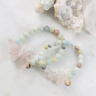Handmade mommy and me bracelet set with healing crystals