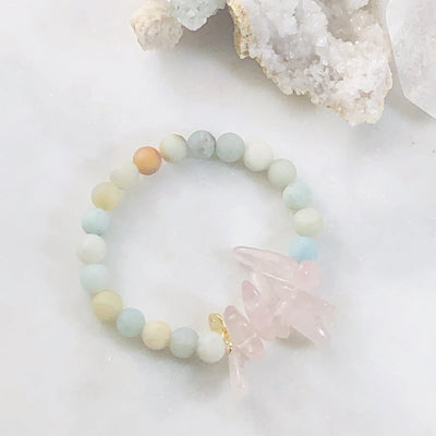 Handmade healing crystal bracelet for balancing the heart