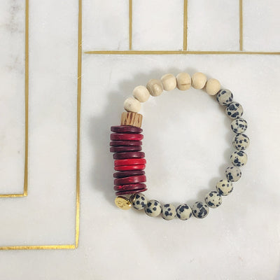 Handmade, healing crystal bracelet for supporting the root chakra