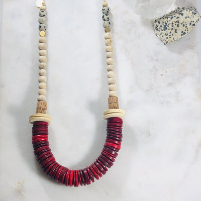Handmade statement necklace with a modern, Scandinavian vibe offers a unique style