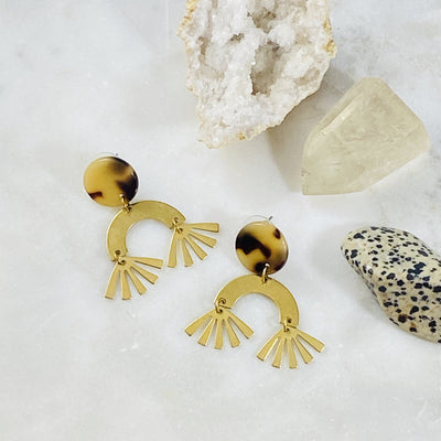 Handmade tortoise and brass earrings for spring fashion