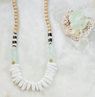 Handmade modern boho necklace for tranquility