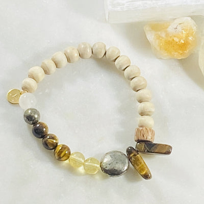 Handmade healing crystal bracelet for abundance and third chakra