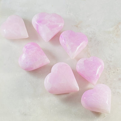 pink aragonite heart for self-discipline