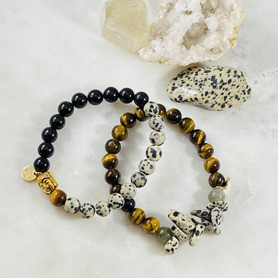 Handmade healing gemstone bracelet for energetic protection