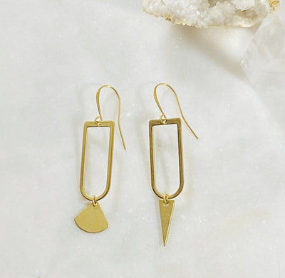Sarah Belle brass mismatched statement earrings