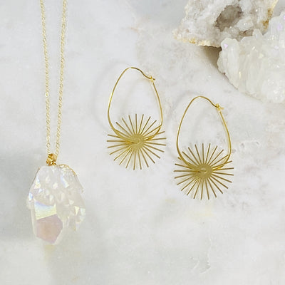Handmade gold jewelry with healing crystals by Sarah Belle