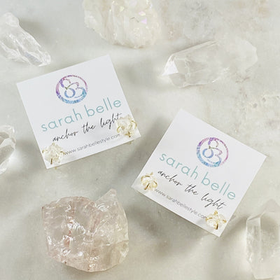 Angel aura quartz stud earrings from sarah belle for energy healing