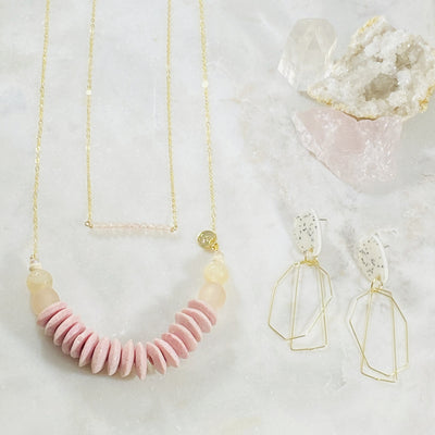 Handmade healing crystal jewelry, rose quartz bar necklace