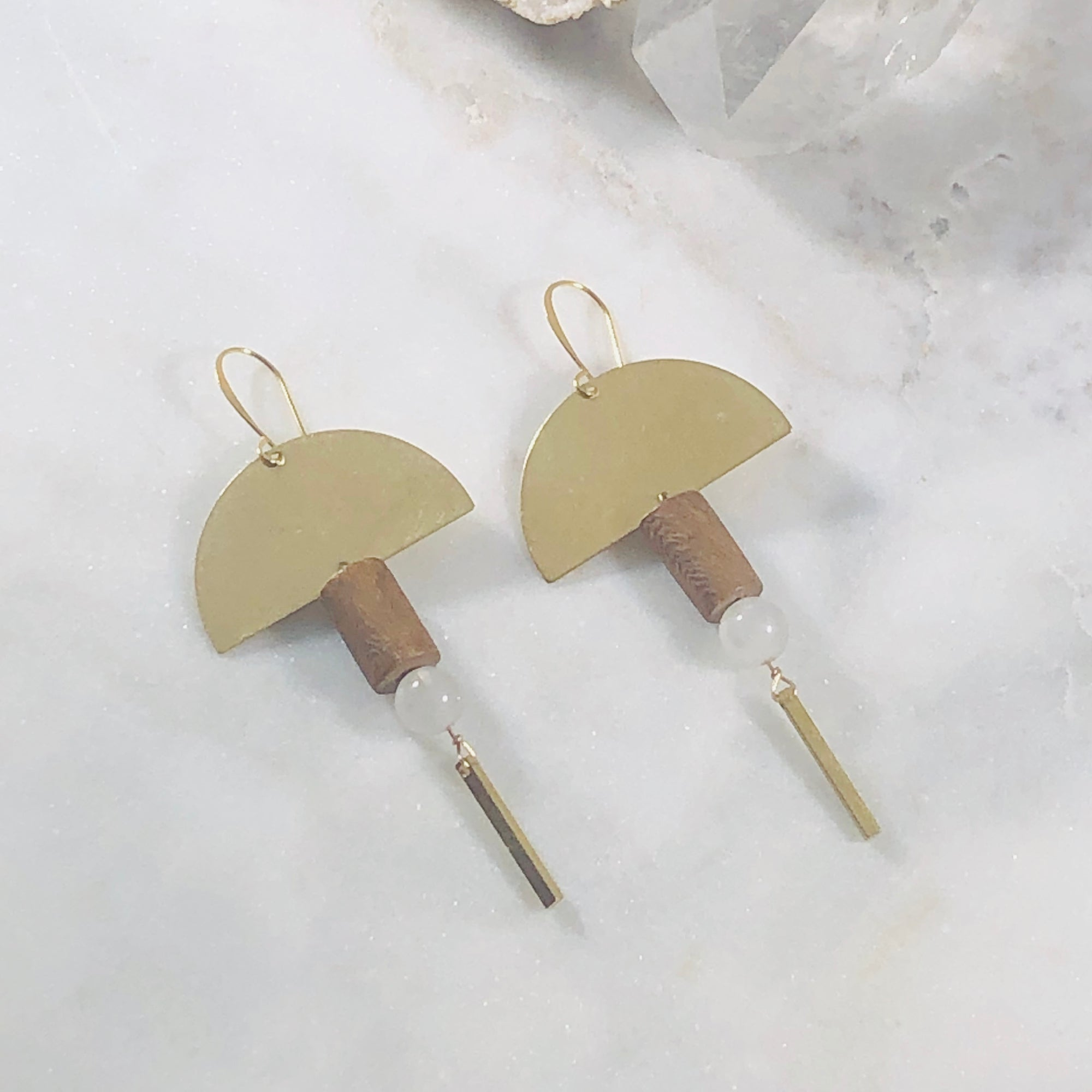 Handmade mid-century modern statement earrings featuring quartz crystal and wood