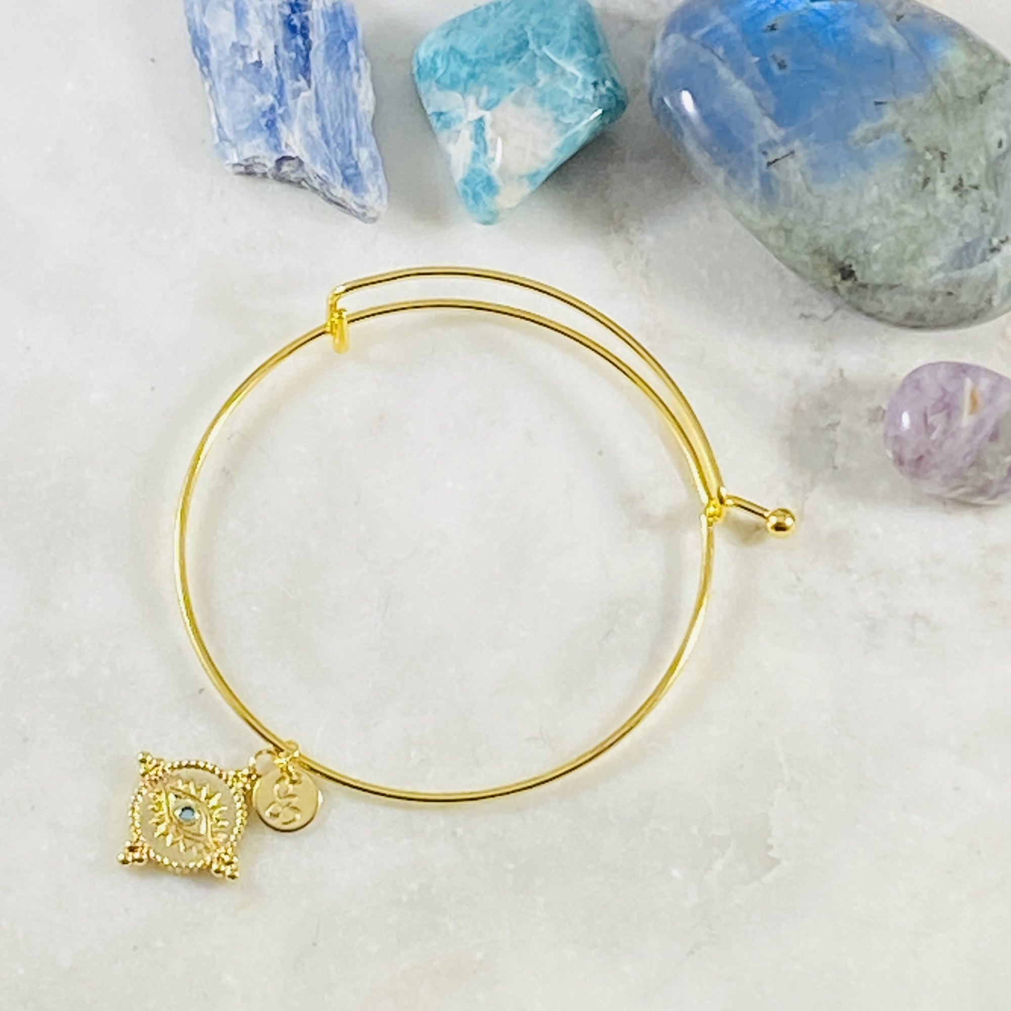 Gold Third Eye Bangle Bracelet