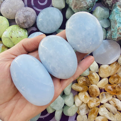 blue calcite palm stones for recovery and healing from sarah belle