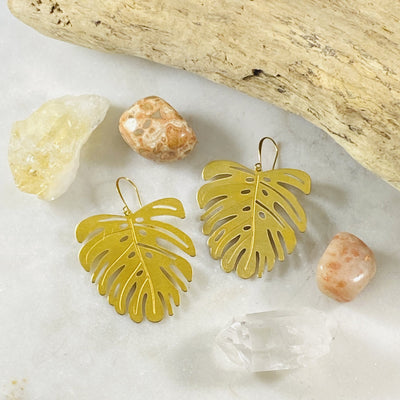 Brass Monstera Leaf Earrings