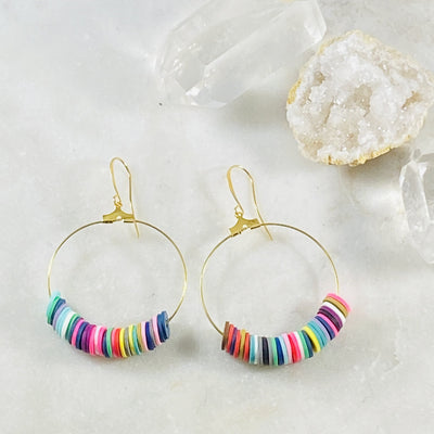 Dottie African Vinyl Disc Earrings Multi