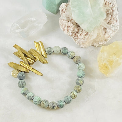 Handmade stacking bracelet with african turquoise