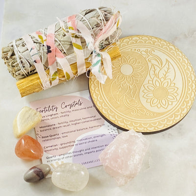 Healing crystals, sage and crystal grid by Sarah Belle