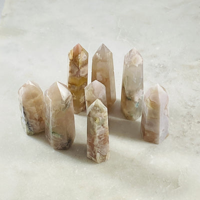 Flower agate point for crystal energy from Sarah Belle