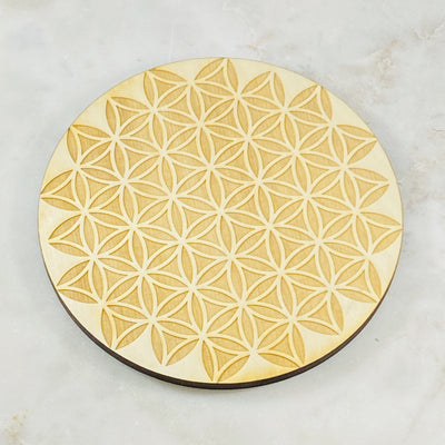 Flower of life wood grid for crystals from Sarah Belle
