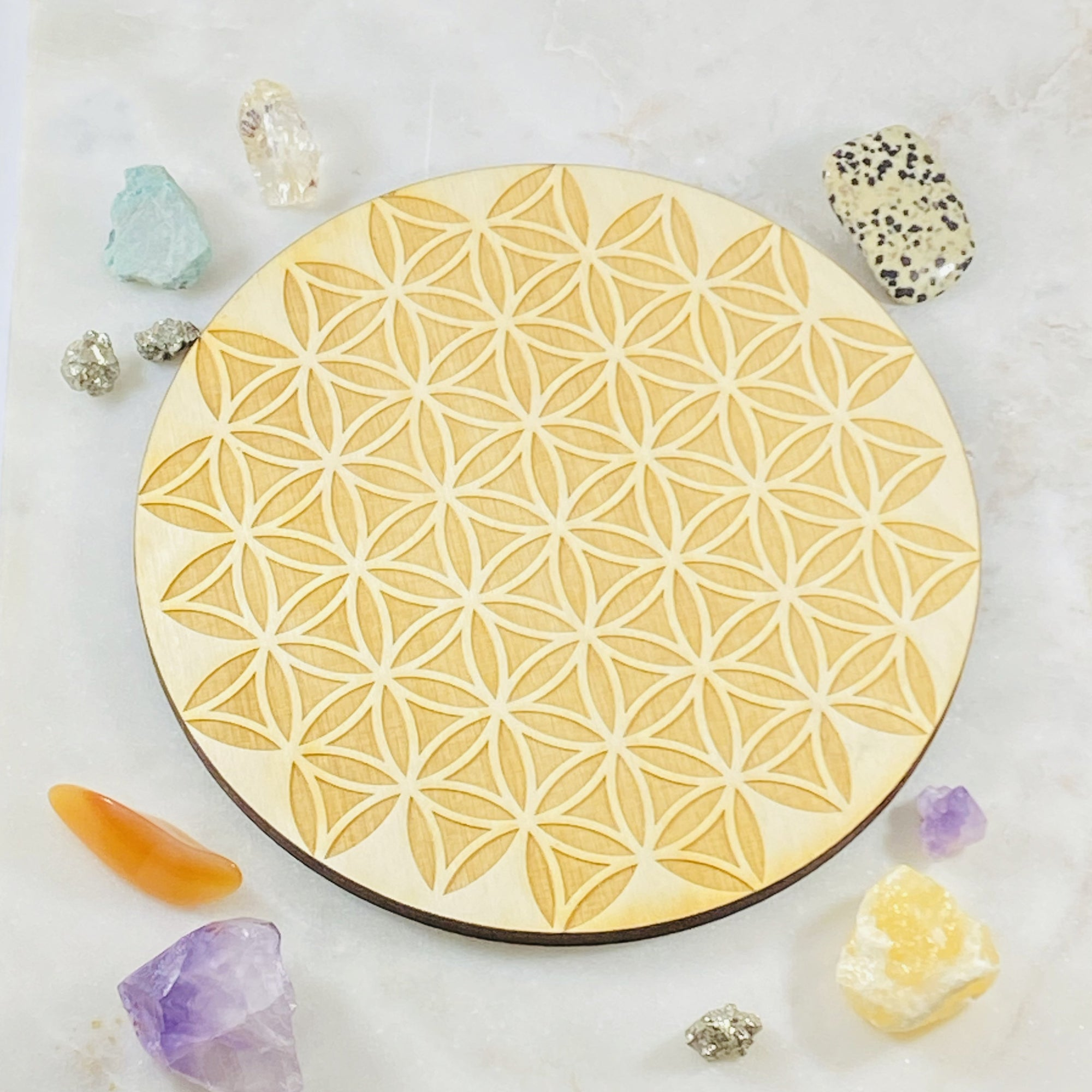 Flower of Life Wood Grid Round