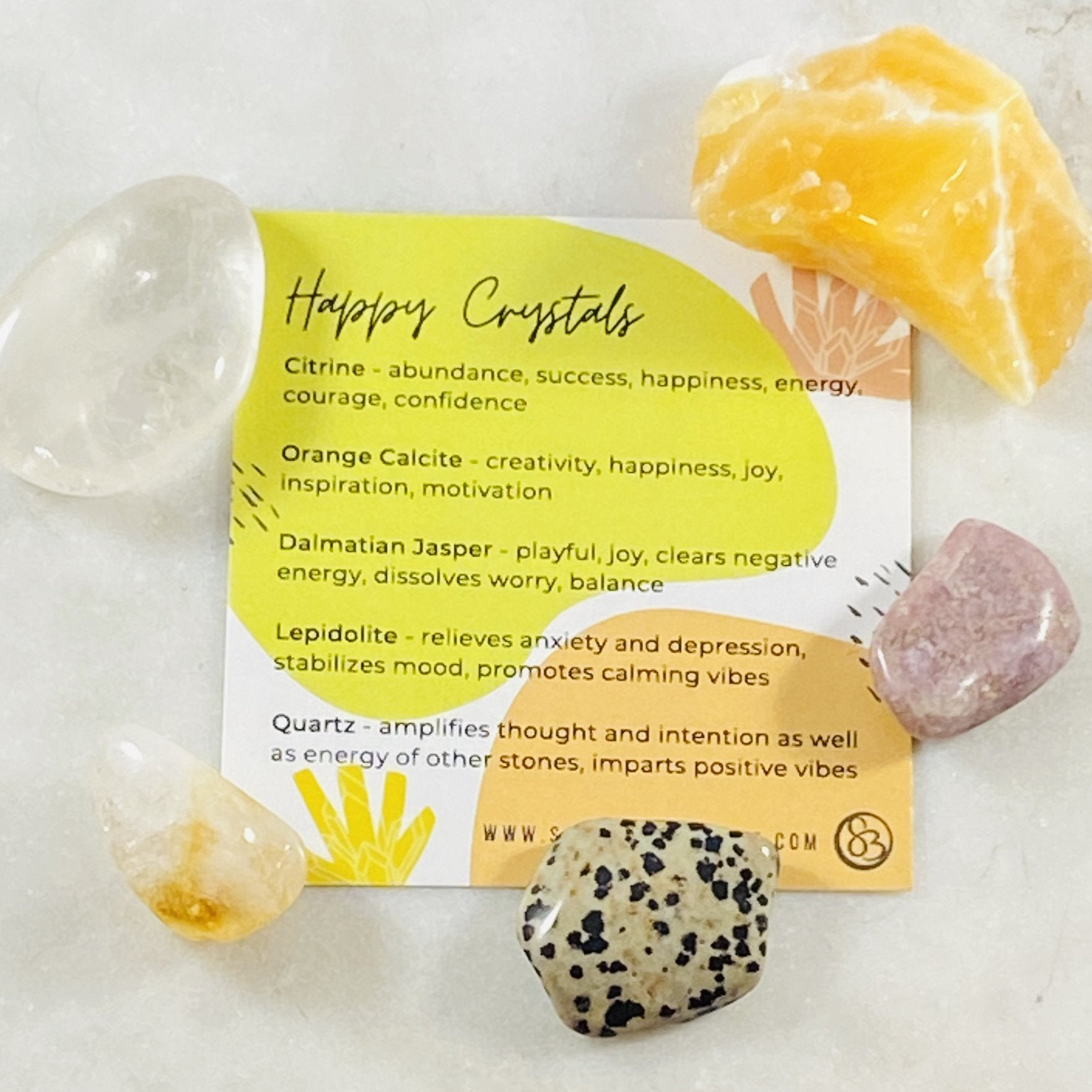 Healing crystals for happiness by Sarah Belle