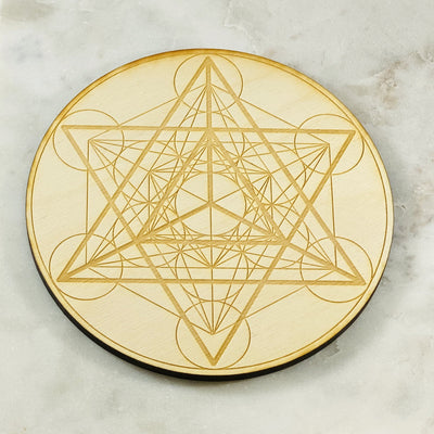 Merkaba wood base for crystal grids