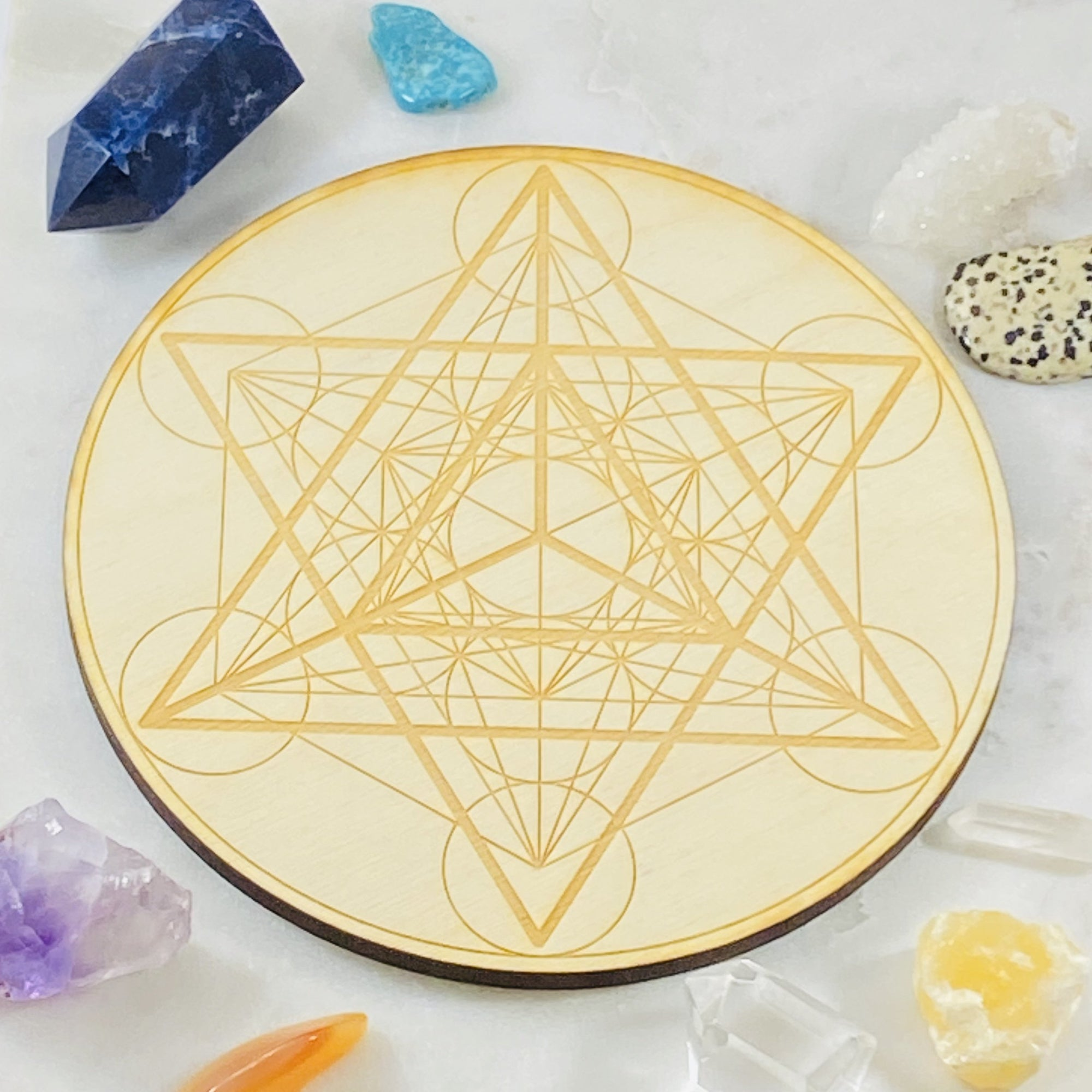 Merkaba Wood Crystal Grid Round