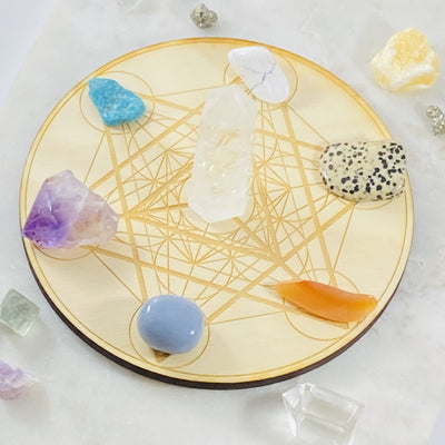 Crystal grid base with merkaba