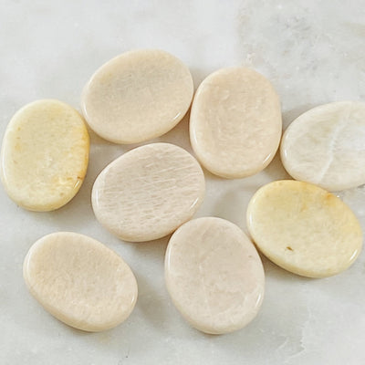 Moonstone worry stones for relieving stress