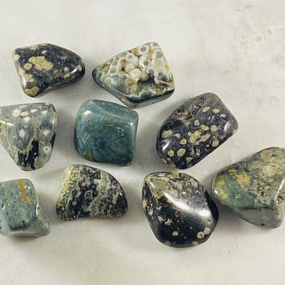 Ocean Jasper tumbled stone for grounding, balancing and reenergizing all the chakras.