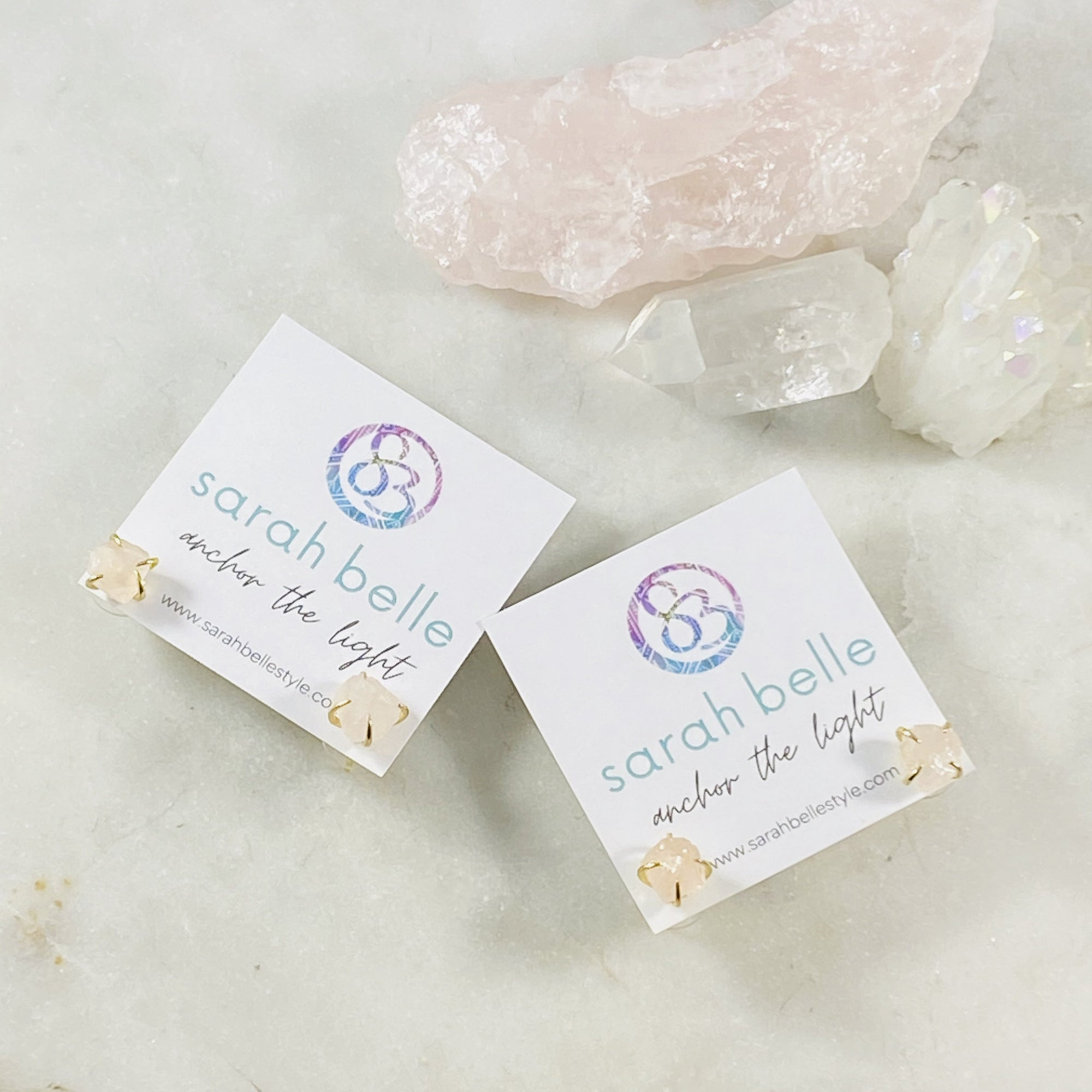Raw rose quartz stud earrings Sarah Belle