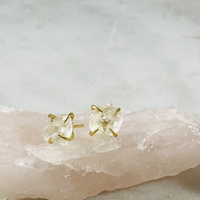 Quartz crystal stud earrings with gold